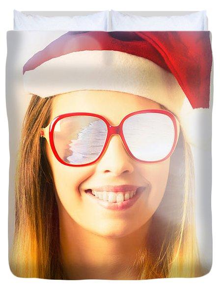 Santa Hat Woman Celebrating Christmas In Australia Duvet Cover