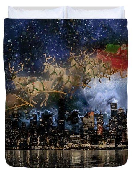 Santa In The City Duvet Cover
