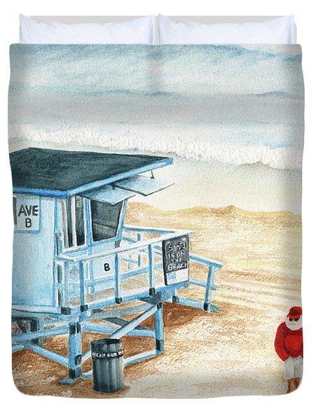 Santa Is On The Beach Duvet Cover