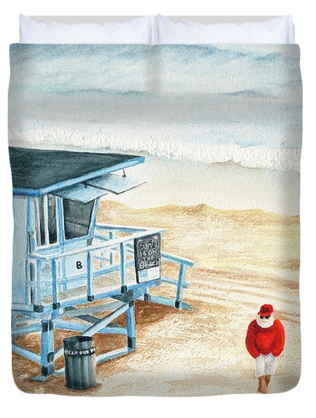 Santa Is On The Beach Duvet Cover