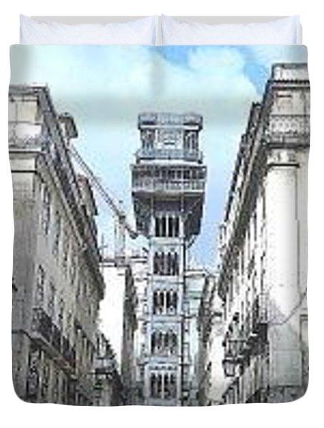 Santa Justa's Elevator In Lisbon Duvet Cover