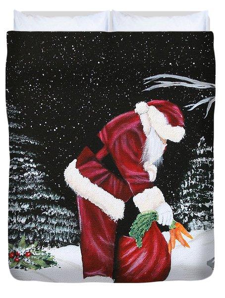 Santa Loves All Creatures Duvet Cover