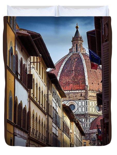 Santa Maria Del Fiore From Via Dei Servi Street In Florence, Italy Duvet Cover