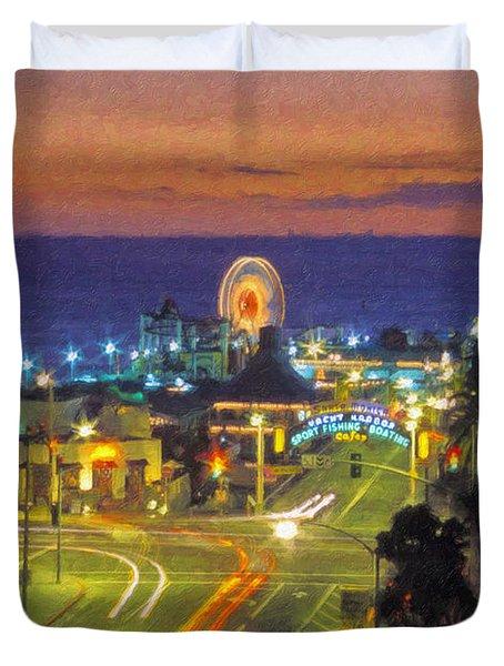 Duvet Cover featuring the photograph Santa Monica Ca  Pacific Park Pier by David Zanzinger