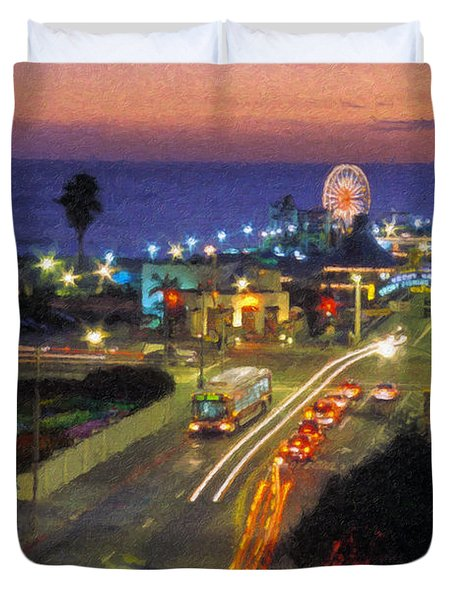 Duvet Cover featuring the photograph Santa Monica Ca Pacific Park Pier  Sunset by David Zanzinger
