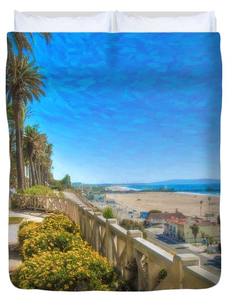 Santa Monica Ca Palisades Park Bluffs Gold Coast Luxury Houses Duvet Cover by David Zanzinger