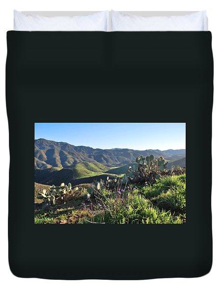 Santa Monica Mountains - Cactus Hillside View Duvet Cover