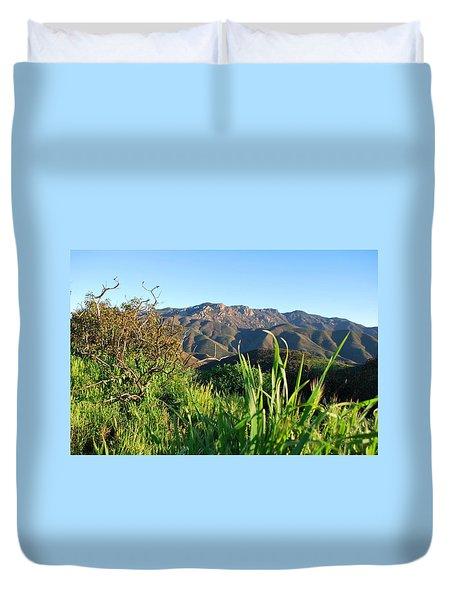 Santa Monica Mountains Green Landscape Duvet Cover