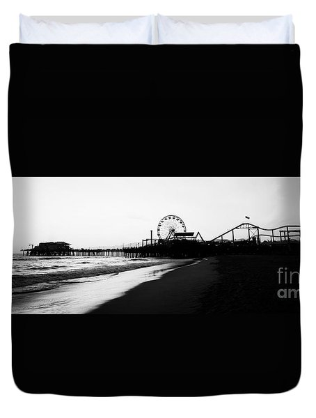 Santa Monica Pier Black And White Panoramic Photo Duvet Cover by Paul Velgos