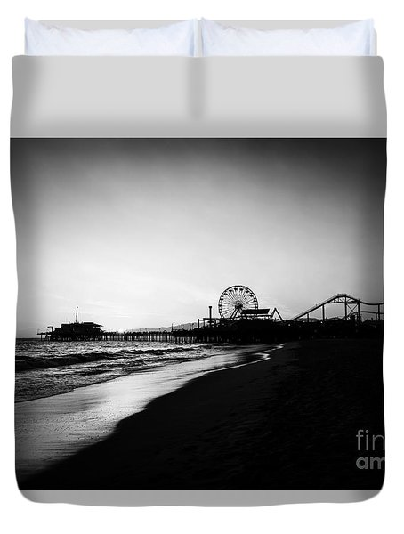 Santa Monica Pier Black And White Photography Duvet Cover
