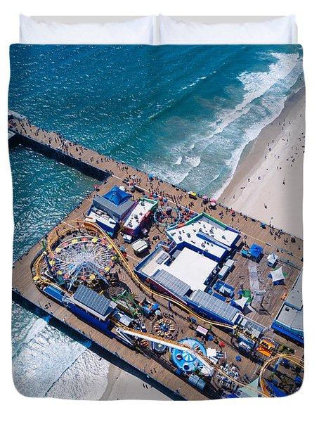 Santa Monica Pier From Above Side Duvet Cover