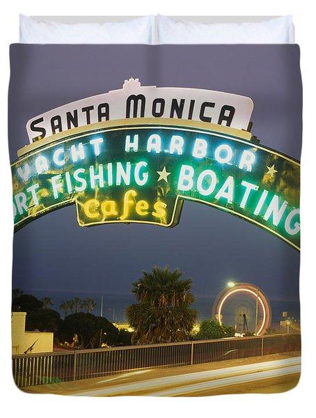 Santa Monica Pier Sign Santa Monica Ca Duvet Cover by Panoramic Images