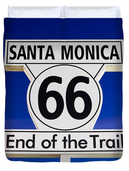Santa Monica Route 66 Sign Duvet Cover
