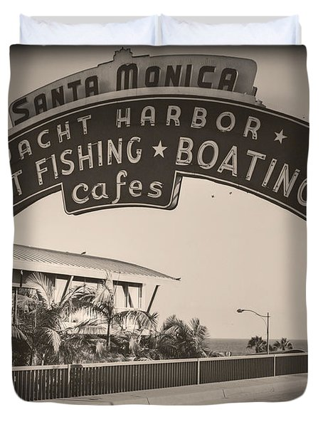 Santa Monica Sign Series Modern Vintage Duvet Cover