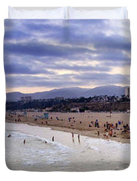 Santa Monica Sunset Panorama Duvet Cover