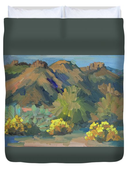 Duvet Cover featuring the painting Santa Rosa Mountains And Brittle Bush by Diane McClary