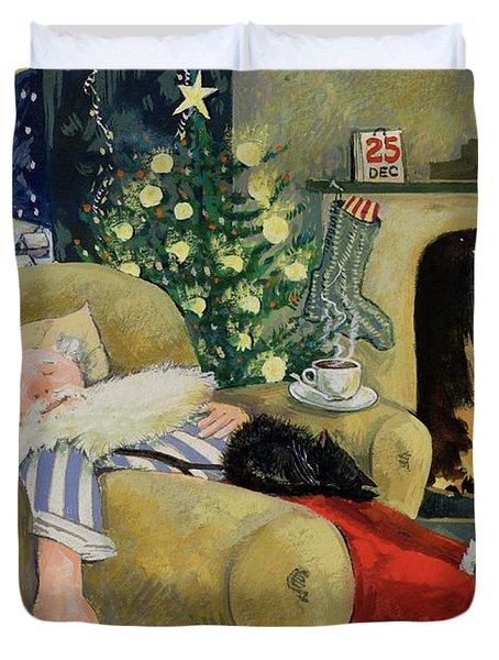Santa Sleeping By The Fire Duvet Cover