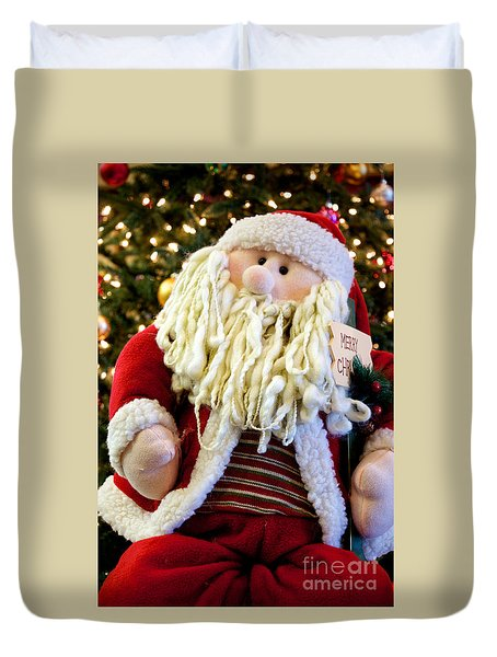 Duvet Cover featuring the photograph Santa Takes A Seat by Vinnie Oakes