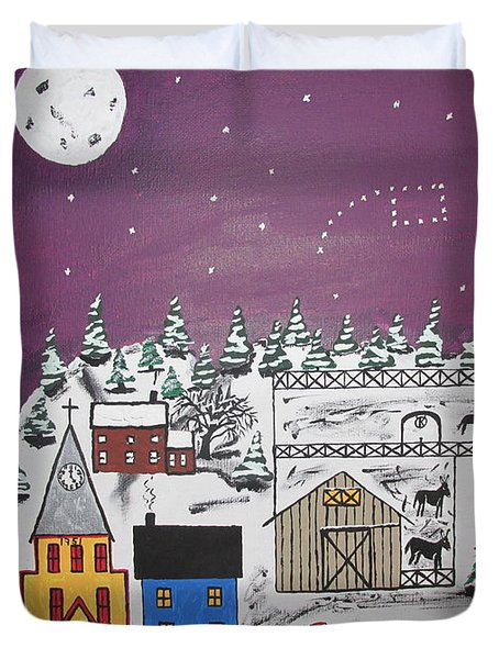 Santa Under The Little Dipper Duvet Cover