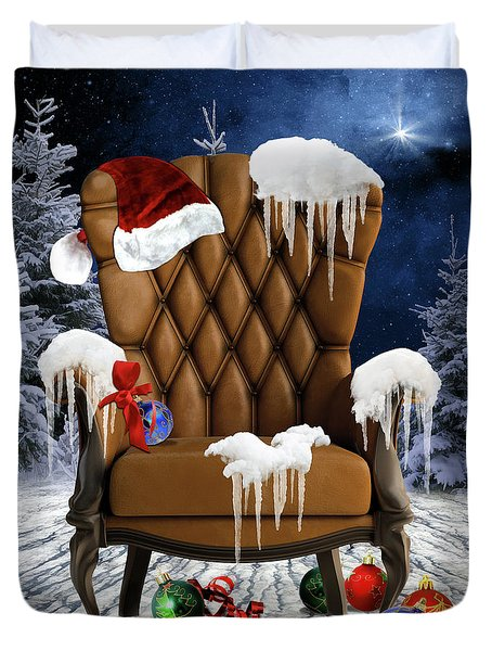 Santa's Chair Duvet Cover by Mihaela Pater