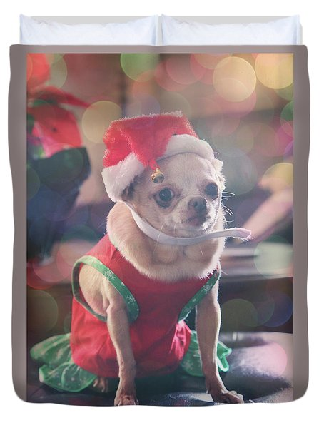 Duvet Cover featuring the photograph Santa's Little Helper by Laurie Search