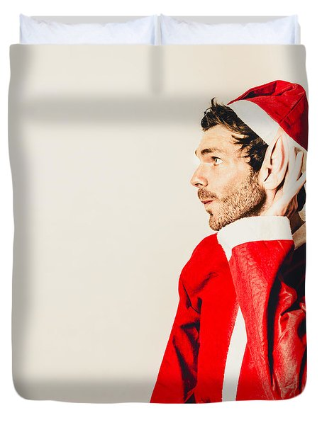 Duvet Cover featuring the photograph Santas Little Helper Listening To Christmas Orders by Jorgo Photography - Wall Art Gallery