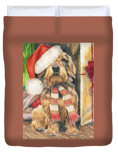 Duvet Cover featuring the drawing Santas Little Yelper by Barbara Keith