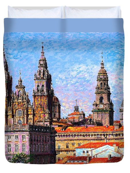Duvet Cover featuring the painting Santiago De Compostela, Cathedral, Spain by Jane Small