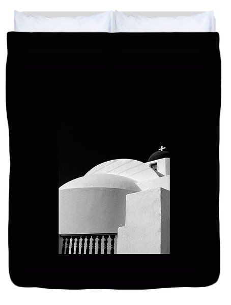 Santorini Black And White Duvet Cover