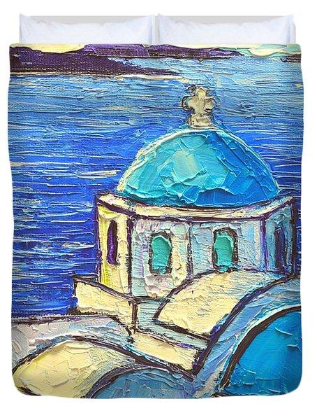Santorini  Blue Duvet Cover