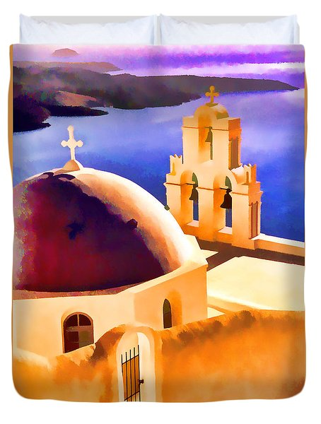 Santorini Church Duvet Cover