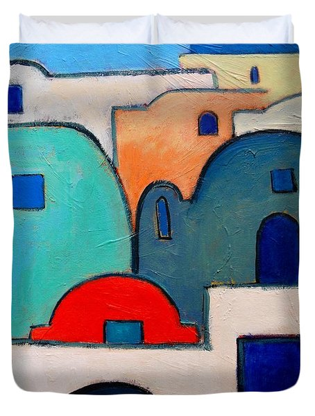 Santorini Cityscape Duvet Cover by Ana Maria Edulescu
