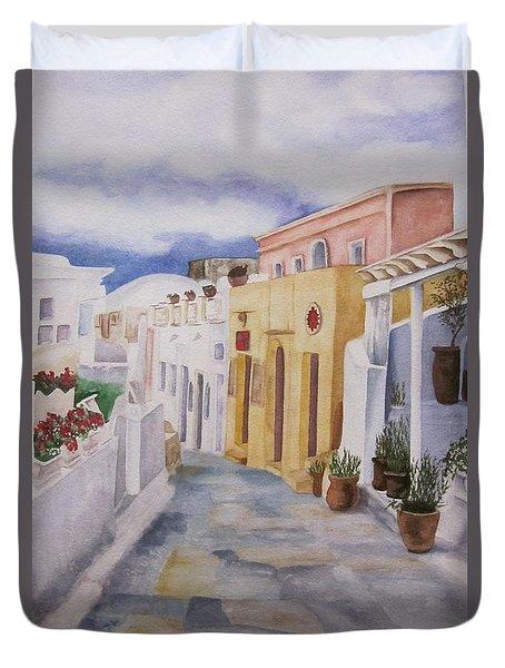 Santorini Cloudy Day Duvet Cover
