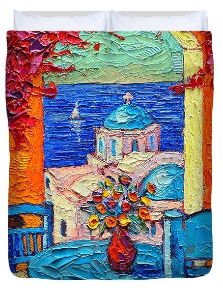 Santorini Dream Greece Contemporary Impressionist Palette Knife Oil Painting By Ana Maria Edulescu Duvet Cover