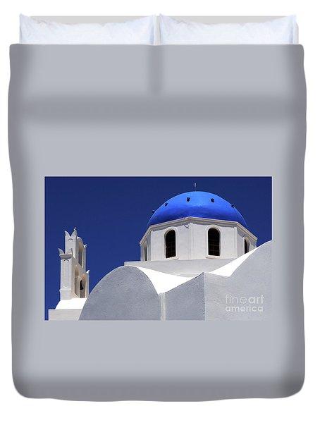 Duvet Cover featuring the photograph Santorini Greece Architectual Line 2 by Bob Christopher