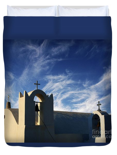 Santorini Greece Architectual Line 3 Duvet Cover by Bob Christopher