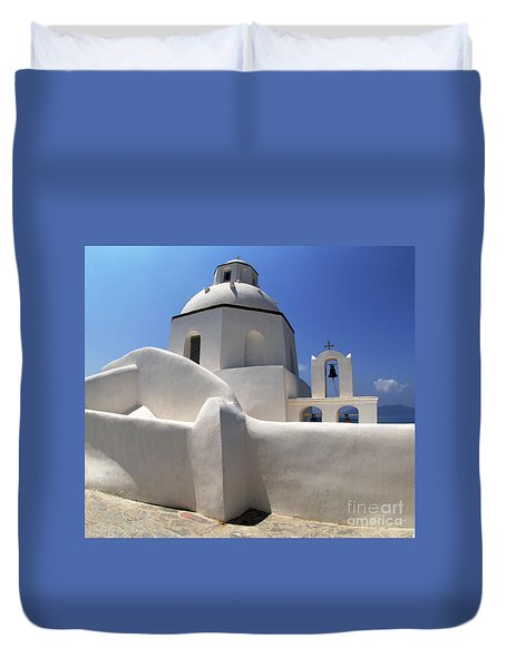 Santorini Greece Architectual Line 4 Duvet Cover by Bob Christopher