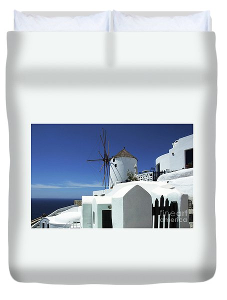 Santorini Greece Architectual Line 5 Duvet Cover by Bob Christopher