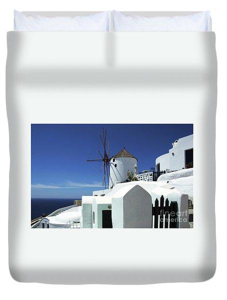 Duvet Cover featuring the photograph Santorini Greece Architectual Line 5 by Bob Christopher