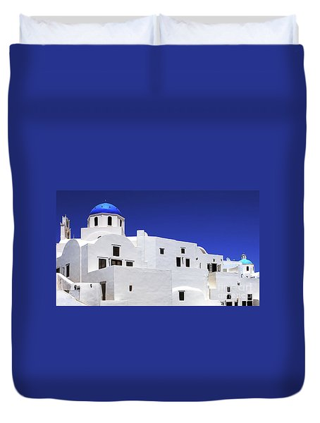 Santorini Greece Architectual Line 6 Duvet Cover by Bob Christopher