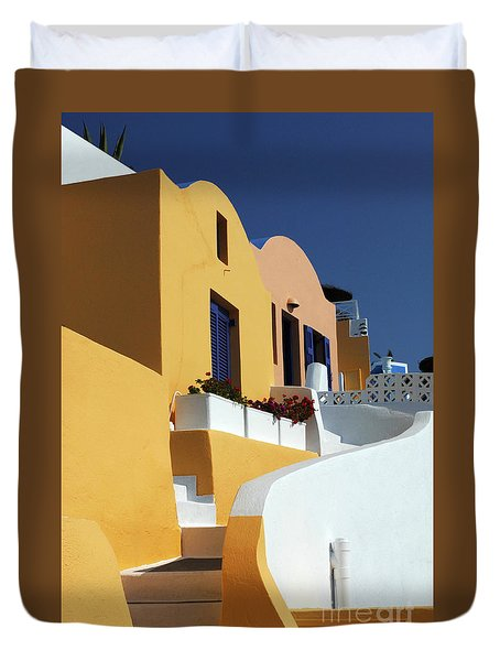 Duvet Cover featuring the photograph Santorini Greece Architectual Line by Bob Christopher