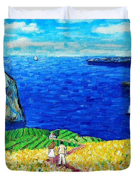 Santorini Honeymoon Duvet Cover by Ana Maria Edulescu