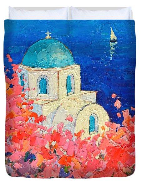 Santorini Impression - Full Bloom In Santorini Greece Duvet Cover by Ana Maria Edulescu