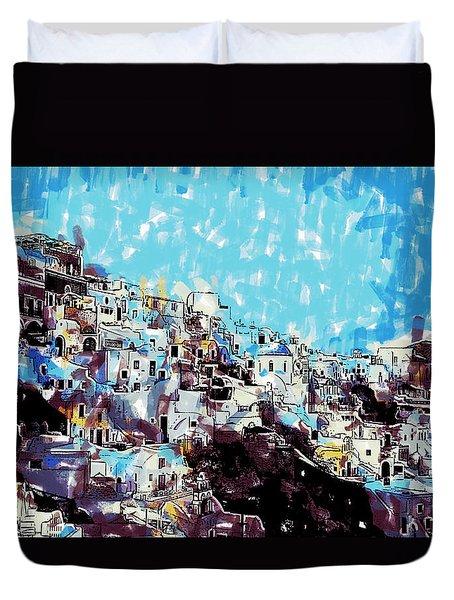 Santorini Island Duvet Cover