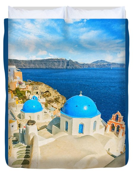 Santorini Oia Church Caldera View Digital Painting Duvet Cover