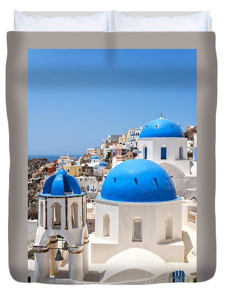 Santorini Oia Church Nearby Duvet Cover