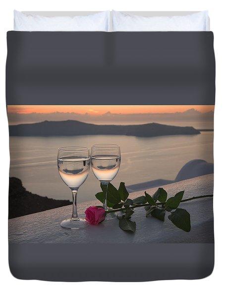 Santorini Romance Duvet Cover