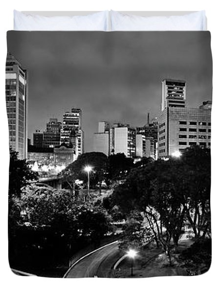 Sao Paulo Downtown At Night In Black And White - Correio Square Duvet Cover