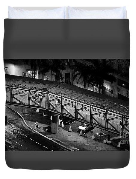 Sao Paulo - Metallic Footbridge At Night Duvet Cover