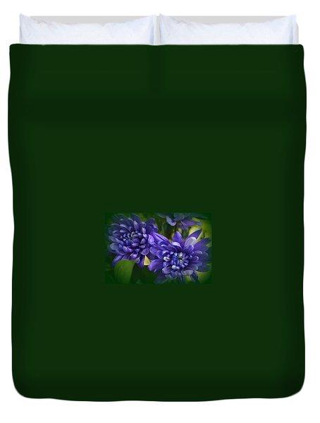 Sapphire Blue Chrysanthemums Duvet Cover